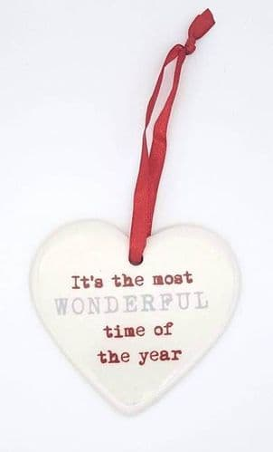 Ceramic Christmas hearts - its the most wonderful time of the year